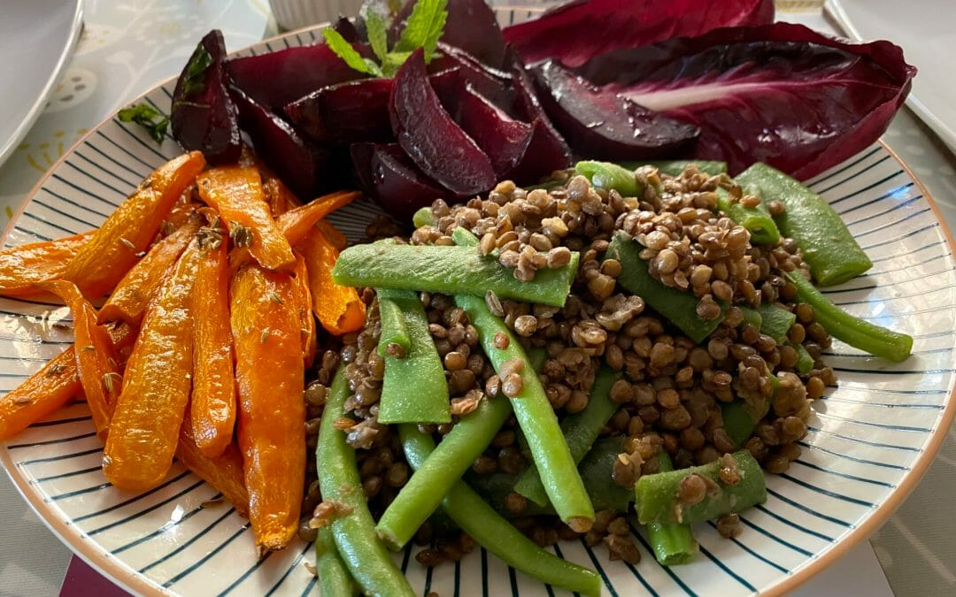 Honey Roasted Beetroot and Carrots, Lentils with French Beans and Radicchio